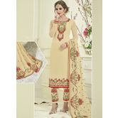 Craftsvilla Yellow Color Georgette Embroidered Semi-stitched Straight Suit
