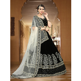 Craftsvilla Black Color Velvet Zari Work Semi-stitched Flared Lehenga Choli