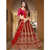 Craftsvilla Red Color Velvet Zari Work Semi-stitched Flared Lehenga Choli