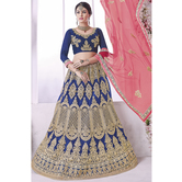 Sutva Royal Blue Embroidered Net Lehenga Choli With Un-stitched Blouse