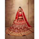 Craftsvilla Red Color Embroidered Net Lehenga Choli With Un-stitched Blouse