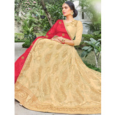 Craftsvilla Beige Color Net Emboirdered A-line Semi-stitched Lehenga Choli