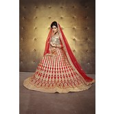 Sutva Red Color Embroidered Net Lehenga Choli With Un-stitched Blouse