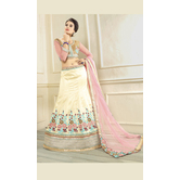 Craftsvilla Off White Color  Embroidered Silk Lehenga Choli With Un-stitched Blouse