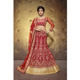 Sutva Red Color  Embroidered Banglory Silk Lehenga Choli With Un-stitched Blouse