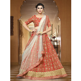 Craftsvilla Red Color Bangalore Silk Zari Work Semi-stitched Flared Lehenga Choli