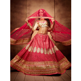 Craftsvilla Pink Color  Embroidered Crepe Lehenga Choli With Un-stitched Blouse
