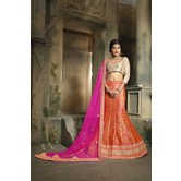 Craftsvilla Orange Color  Embroidered Bangalory Silk Lehenga Choli With Un-stitched Blouse