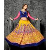 Sutva Yellow Color Embroidered Net Lehenga Choli With Un-stitched Blouse