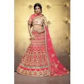 Sutva Pink Color Embroidered Net Lehenga Choli With Un-stitched Blouse