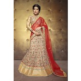 Sutva Beige Color Embroidered Net Lehenga Choli With Un-stitched Blouse