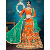 Craftsvilla Orange Color Net Embroidered A-line Semi-stitched Lehenga Choli