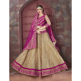 Craftsvilla Beige Color Embroidered Net Lehenga Choli With Un-stitched Blouse
