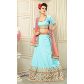 Craftsvilla Blue Color  Embroidered Banglory Silk Lehenga Choli With Un-stitched Blouse
