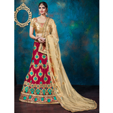 Craftsvilla Red Color Net Embroidered A-line Semi-stitched Lehenga Choli
