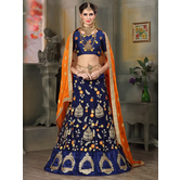 Craftsvilla Navy Blue Net A-line Semi-stitched Lehenga Choli