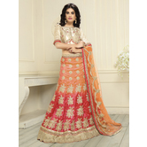 Sutva Orange Color  Embroidered Banglory Silk Lehenga Choli With Un-stitched Blouse