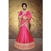 Craftsvilla Pink Color Embroidered Banarasi Silk Lehenga Choli With Un-stitched Blouse
