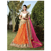 Craftsvilla Multicolor Embroidered Net Lehenga Choli With Un-stitched Blouse