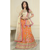 Sutva Orange Color  Embroidered Silk Lehenga Choli With Un-stitched Blouse