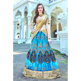 Craftsvilla Blue Color Embroidered Net Lehenga Choli With Un-stitched Blouse