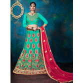 Craftsvilla Spring Green Color Net Embroidered A-line Semi-stitched Lehenga Choli