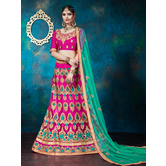 Craftsvilla Pink Color Net Embroidered A-line Semi-stitched Lehenga Choli
