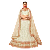 Sutva White Color Embroidered Net Lehenga Choli With Un-stitched Blouse