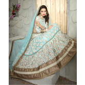 Craftsvilla Turquoise Color Net Embroidered Semi-stitched A Line Lehenga Choli