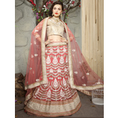 Craftsvilla Pink Color Embroidered Net Lehenga Choli With Un-stitched Blouse
