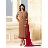 Craftsvilla Brown Color Georgette Embroidered Semi-stitched Straight Suit