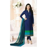 Craftsvilla Blue Color Embroidered Straight Salwar Suit
