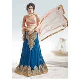 Craftsvilla Blue Color Embroidered Faux Georgette Wedding Lehenga Choli