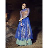 Craftsvilla Blue Color Embroidered Silk Net Gown
