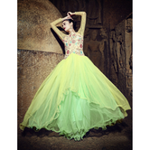 Craftsvilla Green Color Embroidered Net Georgette Gown
