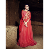 Craftsvilla Red Color Embroidered Net Georgette Gown