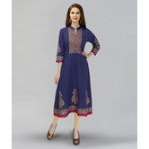 Anuswara Blue Color Cotton Block Printed Kurti