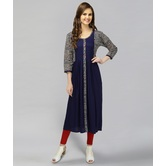 Anuswara Blue Color Cotton Kurti With Printed Sleeves