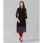 Anuswara Black Color Solid Cotton Kurti With Printed Sleeves And Hem