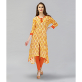 Anuswara Yellow Color Cotton Printed Kurti