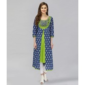 Anuswara Blue And Green Color Cotton A-line Double Layered Kurti