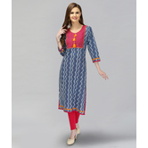 Anuswara Blue Color Cotton Printed A-line Kurti