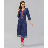 Anuswara Blue Color Cotton Indigo Printed Kurti