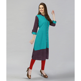 Anuswara Blue Color Solid Cotton Kurti With Printed Sleeves And Hem