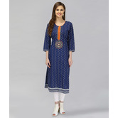 Anuswara Blue Color Cotton Indigo Printed A-line Kurti