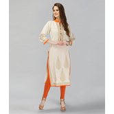 Anuswara Beige Color Cotton Block Printed Kurti With Orange Trim