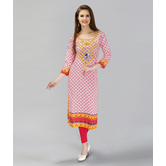Anuswara Pink Color  Cotton Printed Kurti