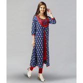 Anuswara Blue And Red Color Cotton A-line Double Layered Kurti