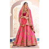 Craftsvilla Beige And Pink Color Dupion Embroidered Wedding Lehenga