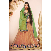 Sutva Peach Color Net Embroidered Wedding Lehenga